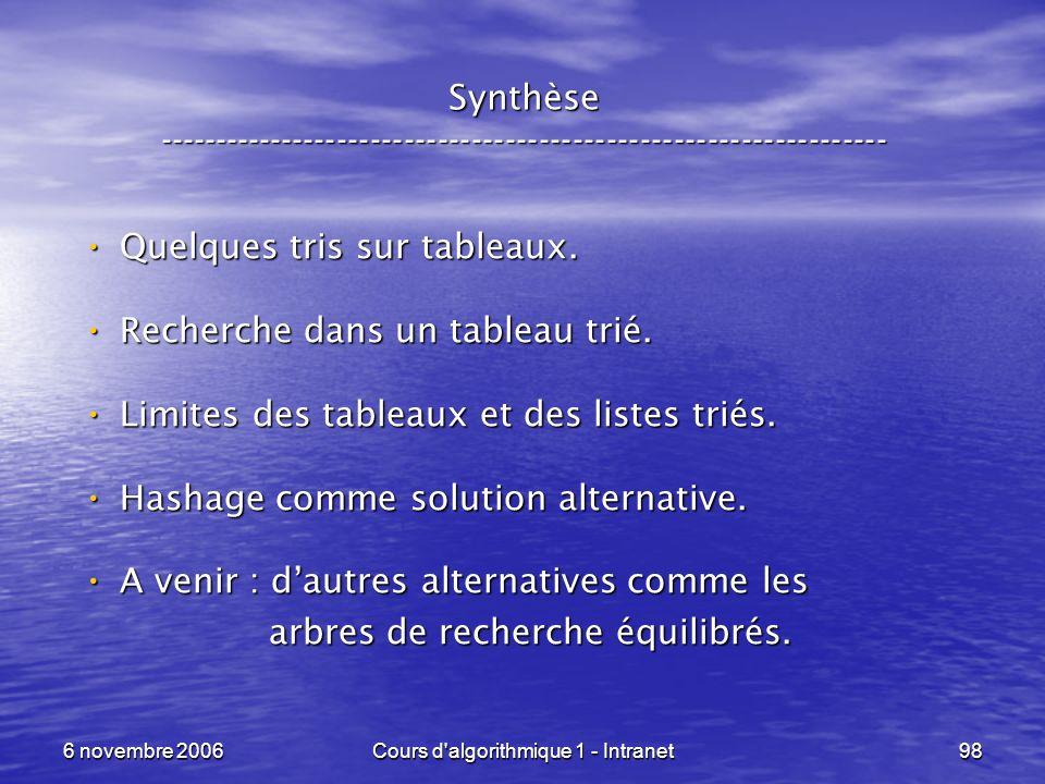 6 novembre 2006Cours d'algorithmique 1 - Intranet98 Synthèse ----------------------------------------------------------------- Quelques tris sur table