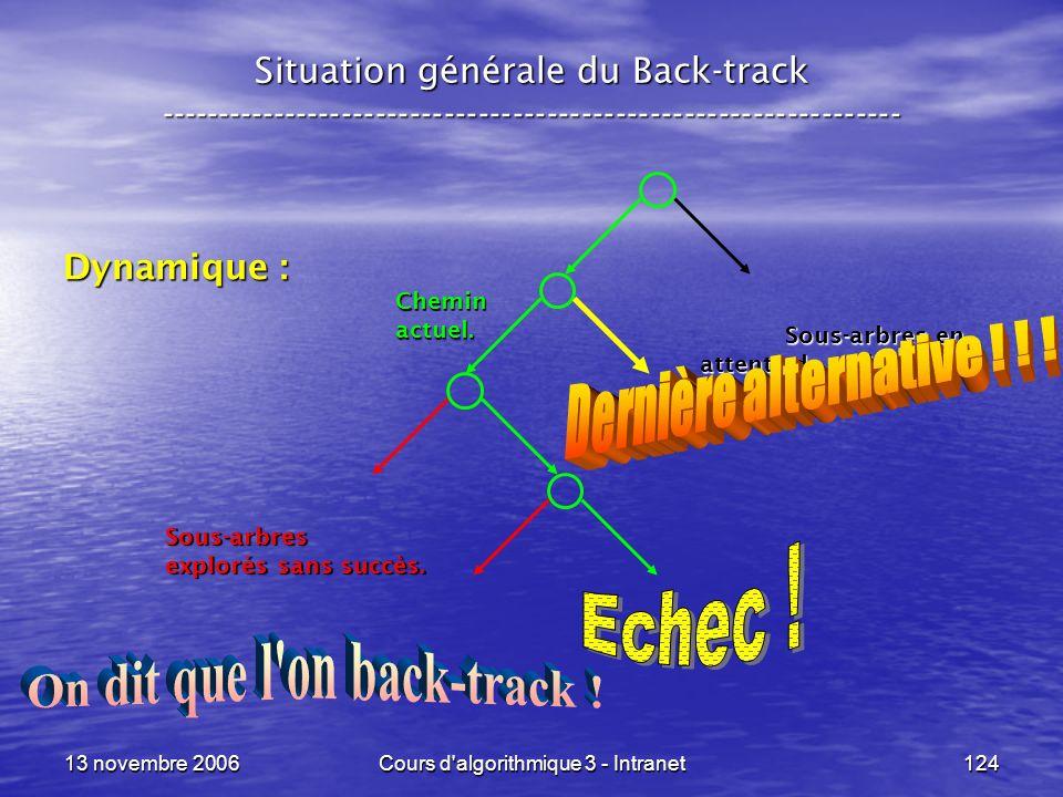 13 novembre 2006Cours d'algorithmique 3 - Intranet124 Situation générale du Back-track ---------------------------------------------------------------