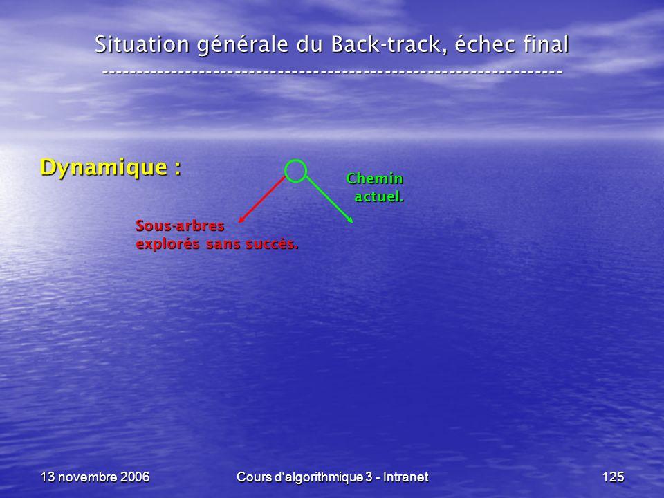 13 novembre 2006Cours d'algorithmique 3 - Intranet125 Situation générale du Back-track, échec final --------------------------------------------------