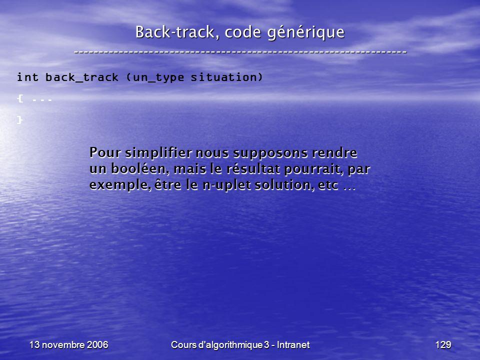 13 novembre 2006Cours d'algorithmique 3 - Intranet129 Back-track, code générique ----------------------------------------------------------------- int