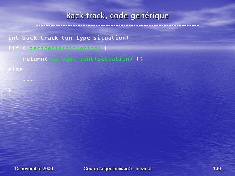 13 novembre 2006Cours d'algorithmique 3 - Intranet130 Back-track, code générique ----------------------------------------------------------------- int