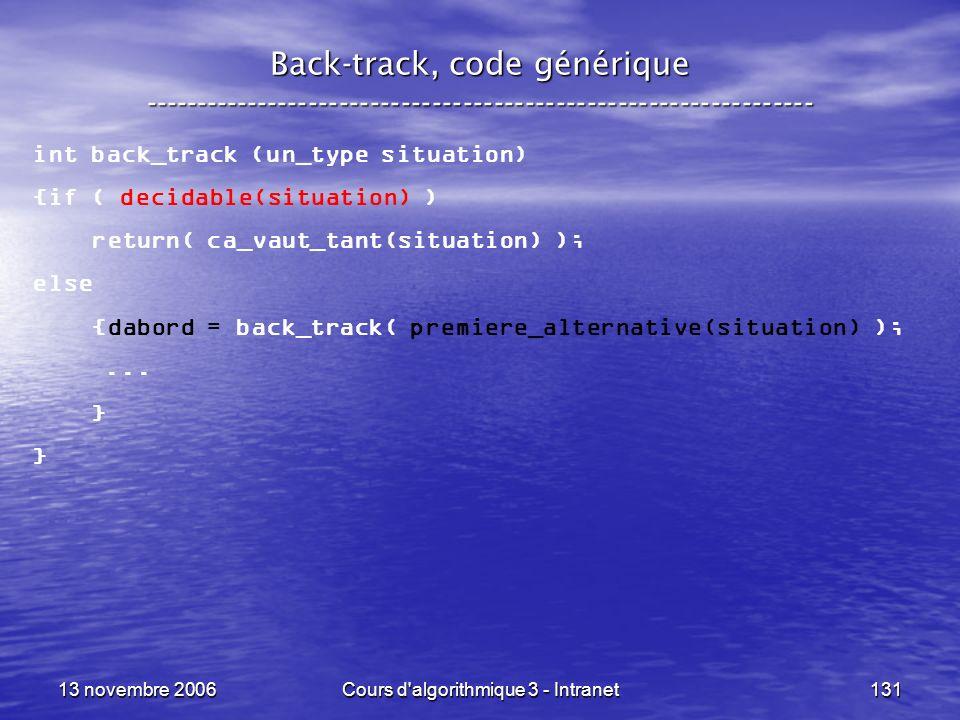 13 novembre 2006Cours d'algorithmique 3 - Intranet131 Back-track, code générique ----------------------------------------------------------------- int
