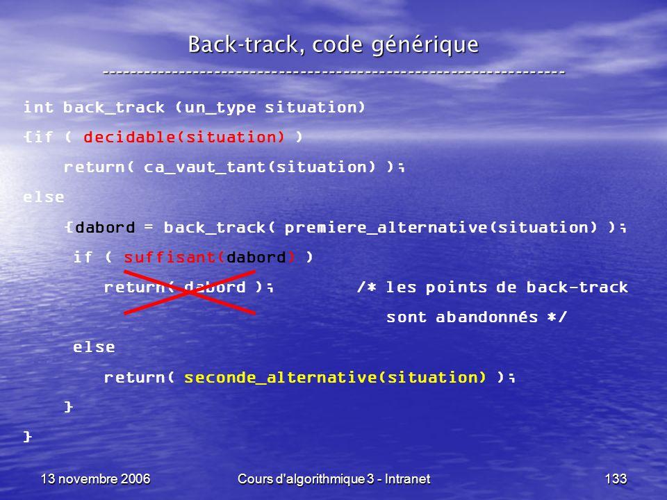 13 novembre 2006Cours d'algorithmique 3 - Intranet133 Back-track, code générique ----------------------------------------------------------------- int