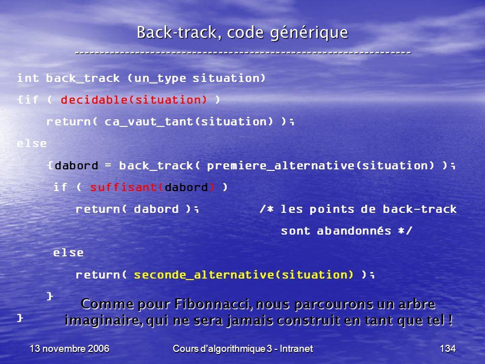 13 novembre 2006Cours d'algorithmique 3 - Intranet134 Back-track, code générique ----------------------------------------------------------------- int
