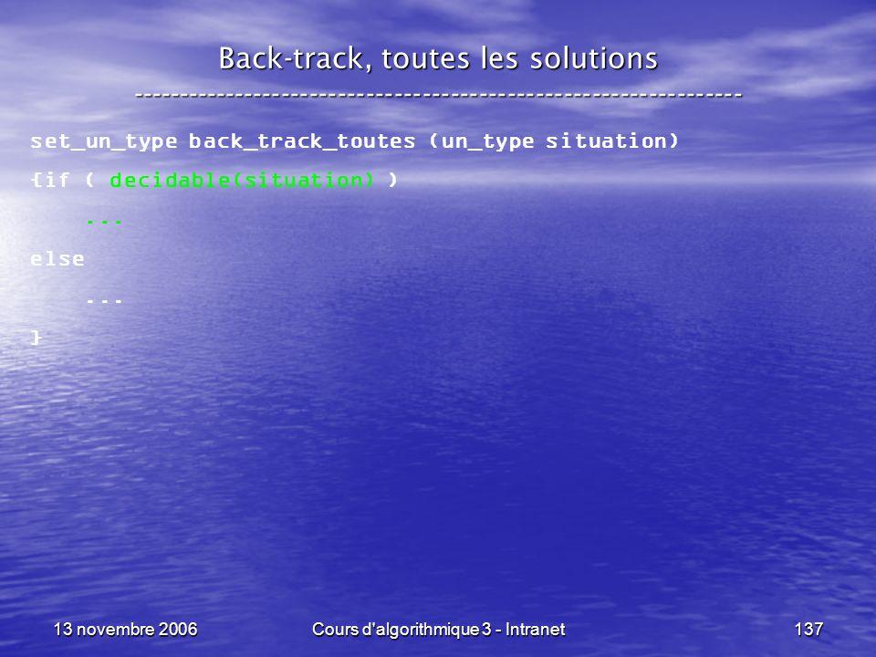 13 novembre 2006Cours d'algorithmique 3 - Intranet137 Back-track, toutes les solutions ---------------------------------------------------------------