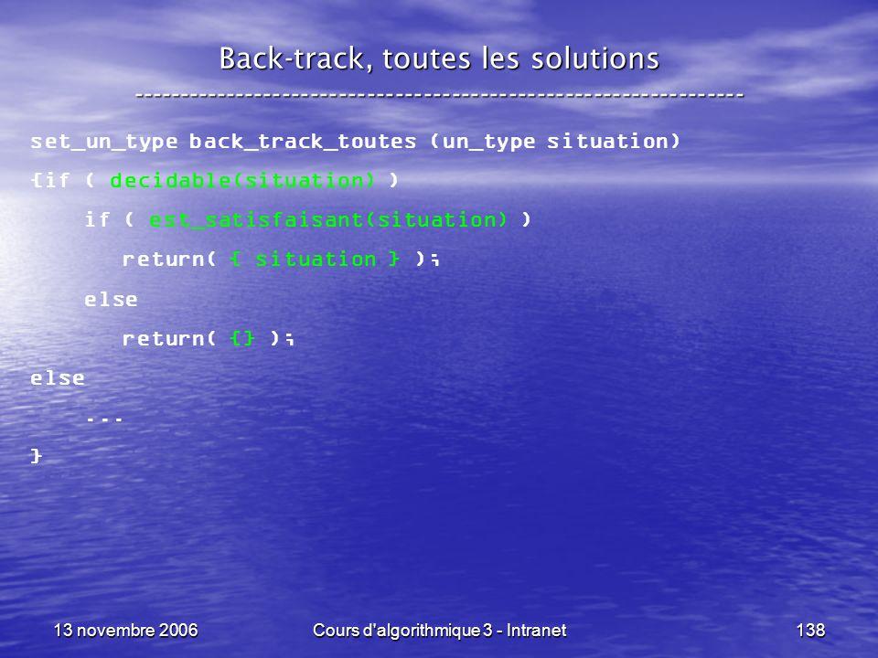 13 novembre 2006Cours d'algorithmique 3 - Intranet138 Back-track, toutes les solutions ---------------------------------------------------------------