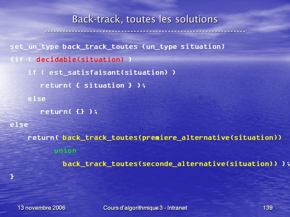 13 novembre 2006Cours d'algorithmique 3 - Intranet139 Back-track, toutes les solutions ---------------------------------------------------------------