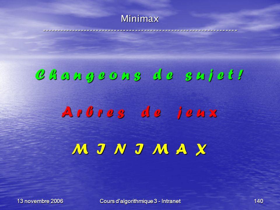 13 novembre 2006Cours d'algorithmique 3 - Intranet140 Minimax ----------------------------------------------------------------- C h a n g e o n s d e