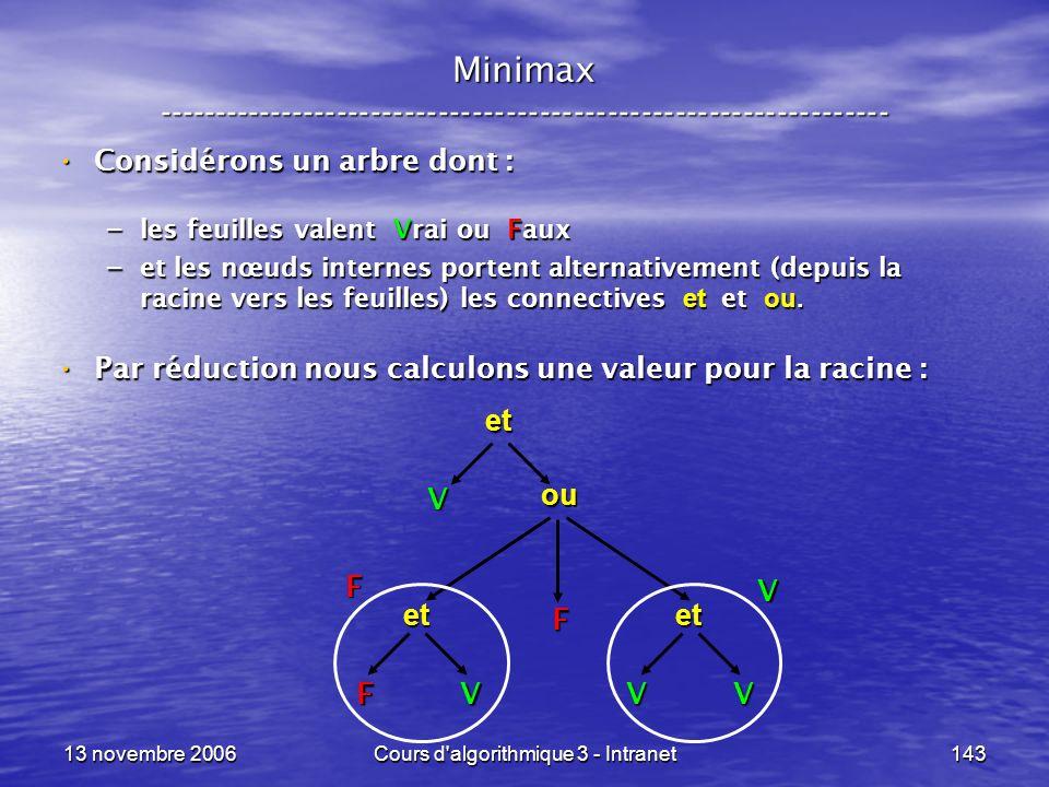 13 novembre 2006Cours d'algorithmique 3 - Intranet143 Minimax ----------------------------------------------------------------- Considérons un arbre d