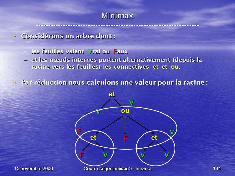 13 novembre 2006Cours d'algorithmique 3 - Intranet144 Minimax ----------------------------------------------------------------- Considérons un arbre d