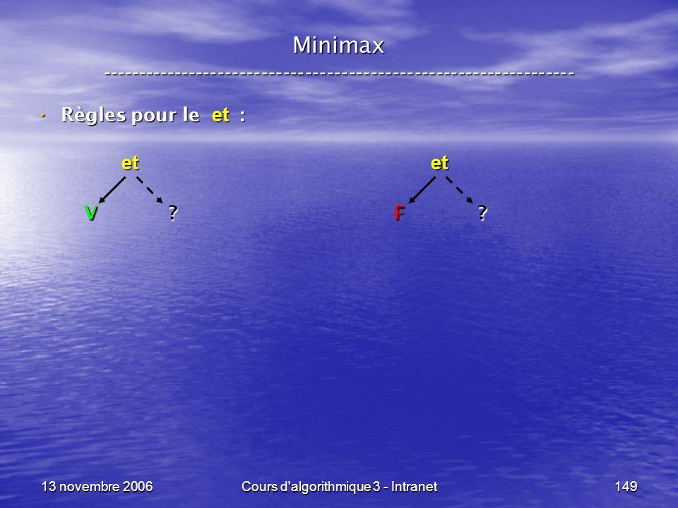 13 novembre 2006Cours d'algorithmique 3 - Intranet149 Minimax ----------------------------------------------------------------- Règles pour le et : Rè