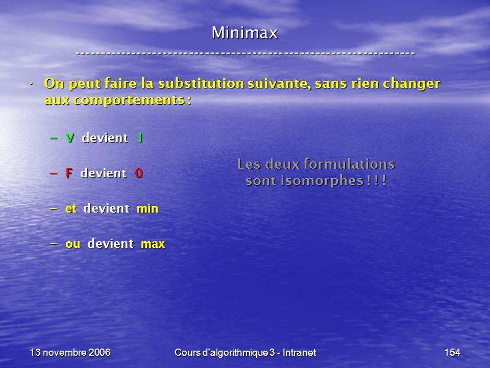 13 novembre 2006Cours d'algorithmique 3 - Intranet154 Minimax ----------------------------------------------------------------- On peut faire la subst