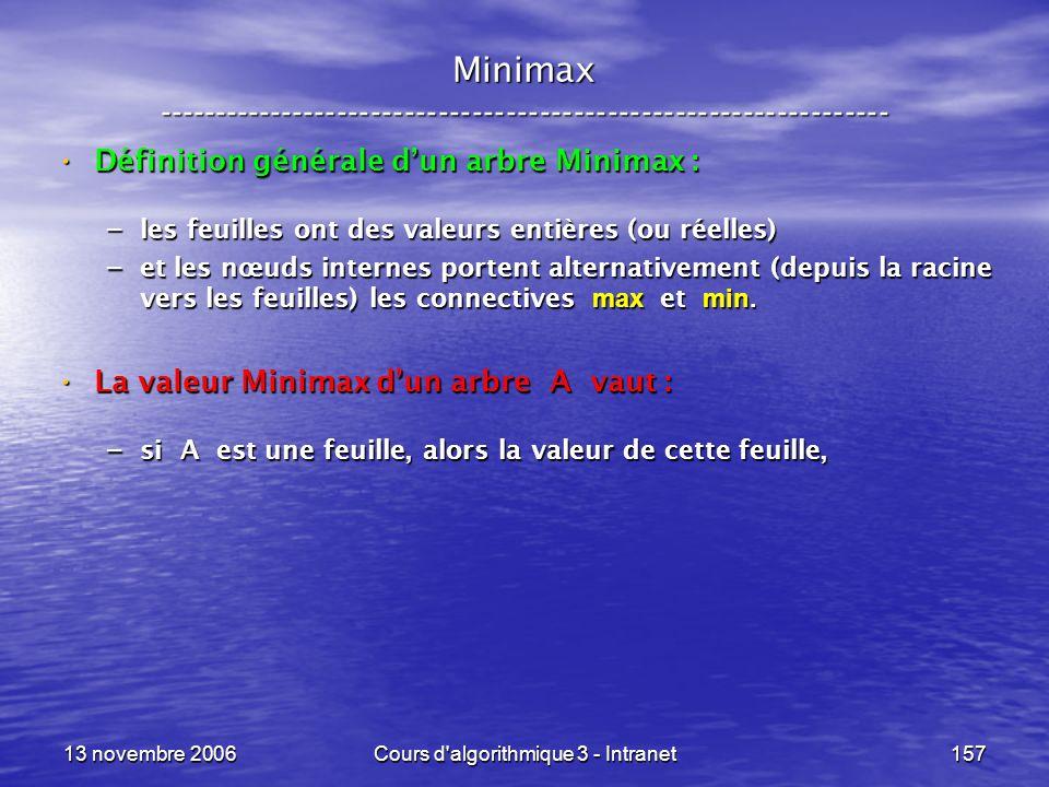 13 novembre 2006Cours d'algorithmique 3 - Intranet157 Minimax ----------------------------------------------------------------- Définition générale du