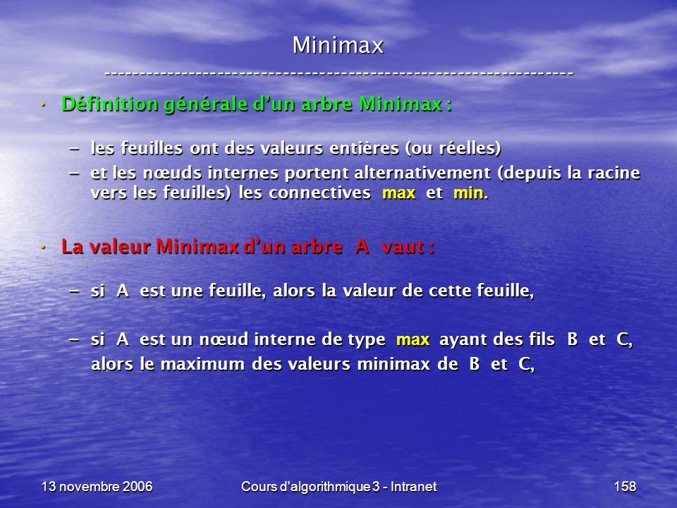 13 novembre 2006Cours d'algorithmique 3 - Intranet158 Minimax ----------------------------------------------------------------- Définition générale du