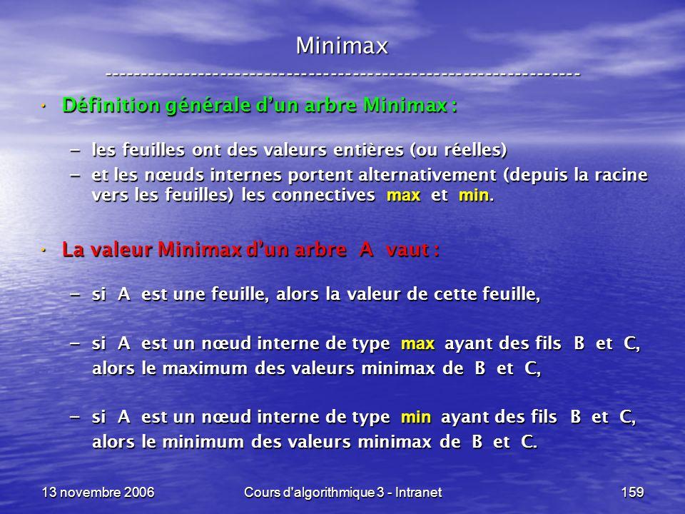 13 novembre 2006Cours d'algorithmique 3 - Intranet159 Minimax ----------------------------------------------------------------- Définition générale du