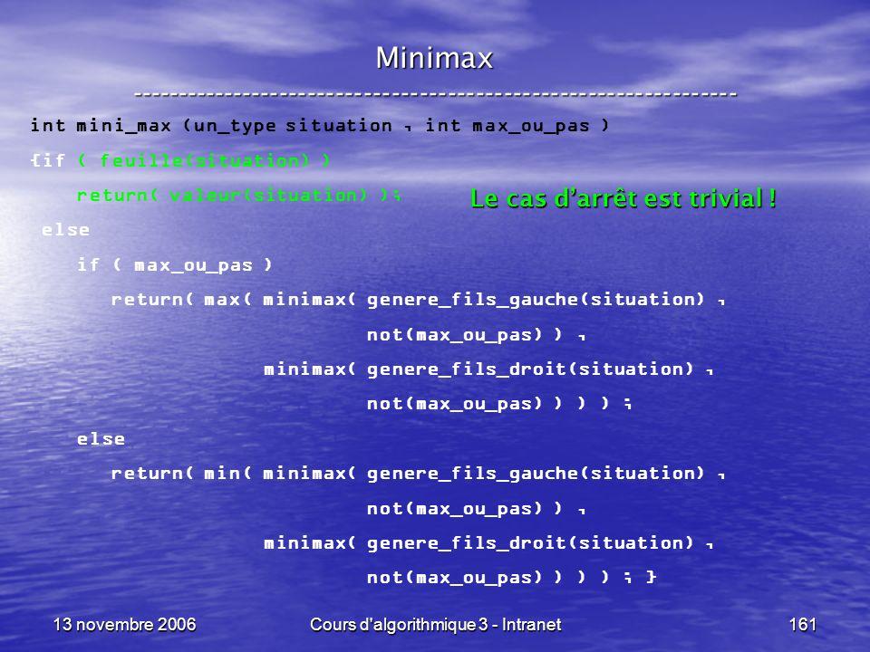 13 novembre 2006Cours d'algorithmique 3 - Intranet161 Minimax ----------------------------------------------------------------- int mini_max (un_type