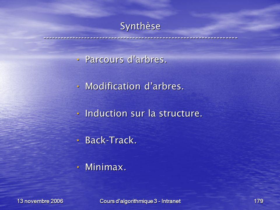 13 novembre 2006Cours d'algorithmique 3 - Intranet179 Synthèse ----------------------------------------------------------------- Parcours darbres. Par