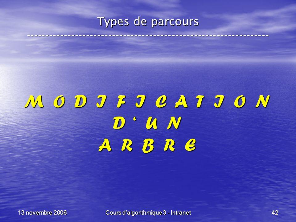 13 novembre 2006Cours d'algorithmique 3 - Intranet42 M O D I F I C A T I O N D U N A R B R E Types de parcours ---------------------------------------
