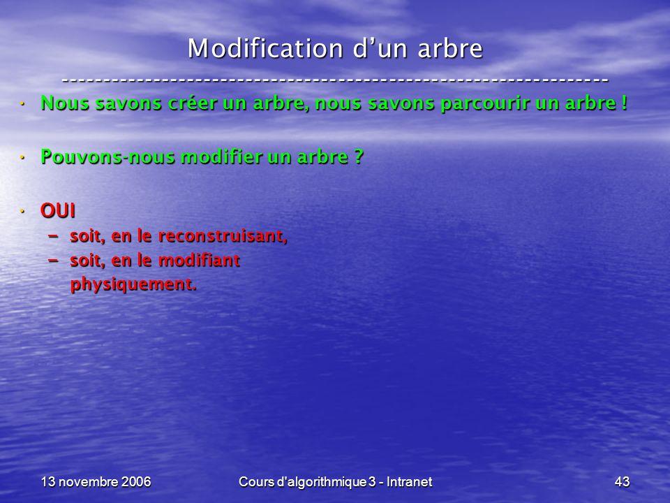 13 novembre 2006Cours d'algorithmique 3 - Intranet43 Modification dun arbre ----------------------------------------------------------------- Nous sav