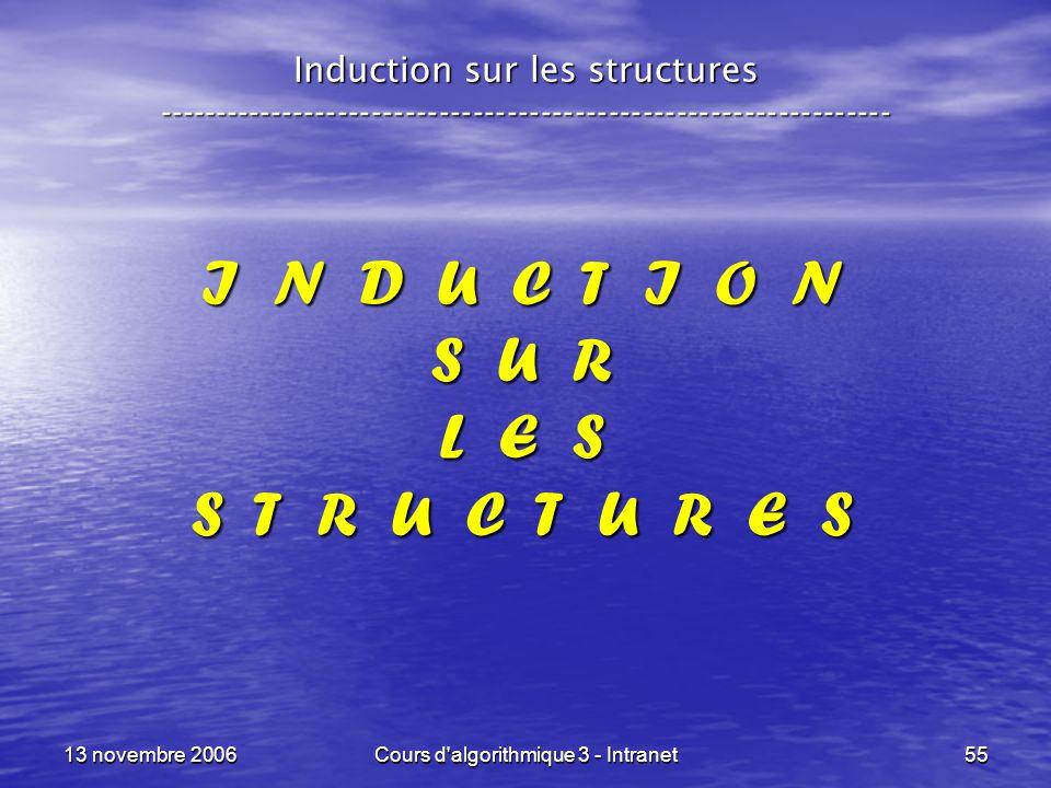 13 novembre 2006Cours d'algorithmique 3 - Intranet55 I N D U C T I O N S U R L E S S T R U C T U R E S Induction sur les structures ------------------