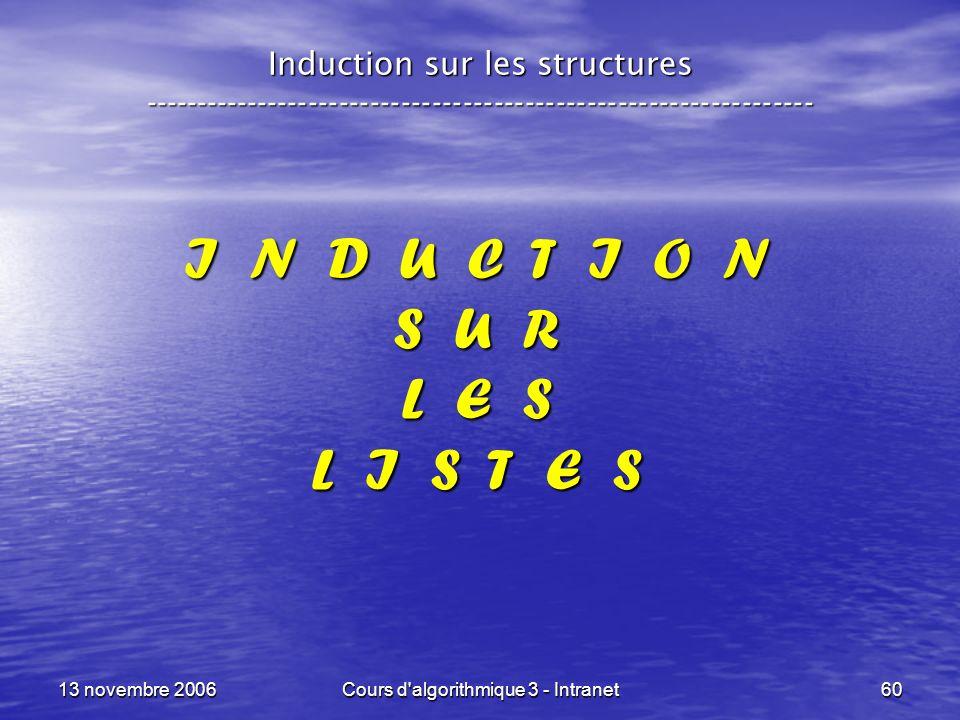 13 novembre 2006Cours d'algorithmique 3 - Intranet60 I N D U C T I O N S U R L E S L I S T E S Induction sur les structures --------------------------