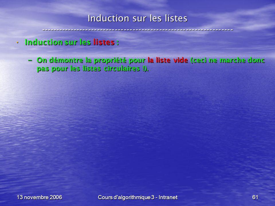 13 novembre 2006Cours d'algorithmique 3 - Intranet61 Induction sur les listes ----------------------------------------------------------------- Induct