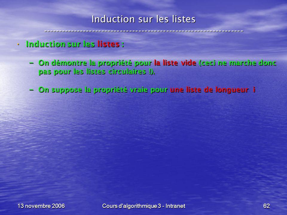 13 novembre 2006Cours d'algorithmique 3 - Intranet62 Induction sur les listes ----------------------------------------------------------------- Induct