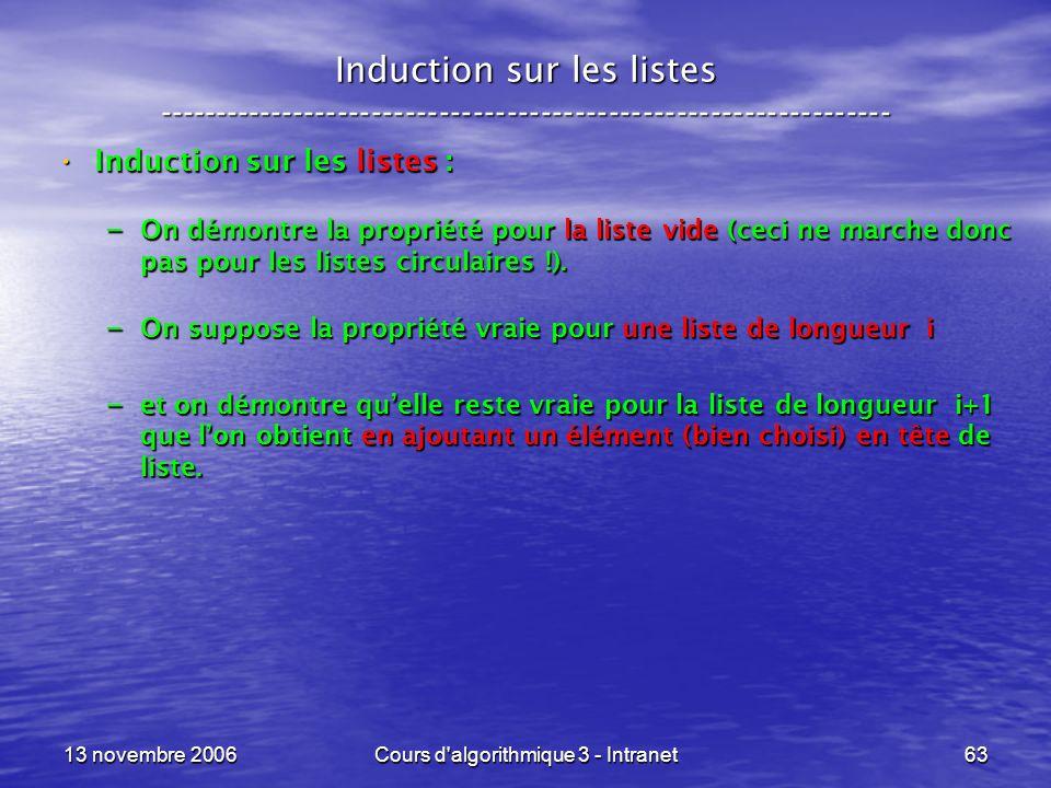 13 novembre 2006Cours d'algorithmique 3 - Intranet63 Induction sur les listes ----------------------------------------------------------------- Induct