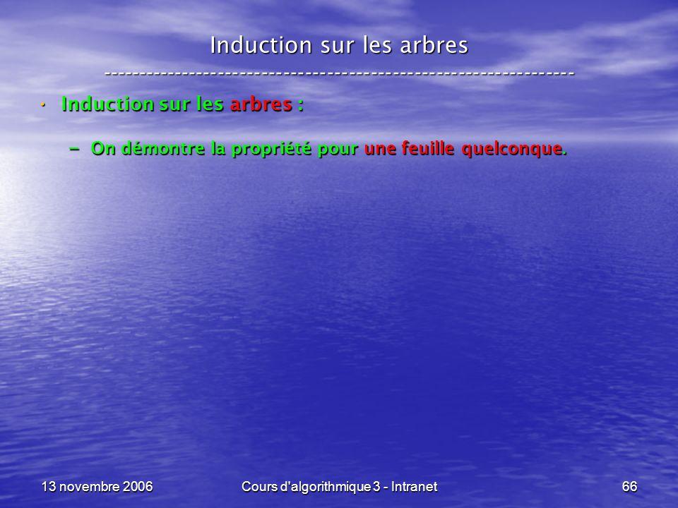 13 novembre 2006Cours d'algorithmique 3 - Intranet66 Induction sur les arbres ----------------------------------------------------------------- Induct