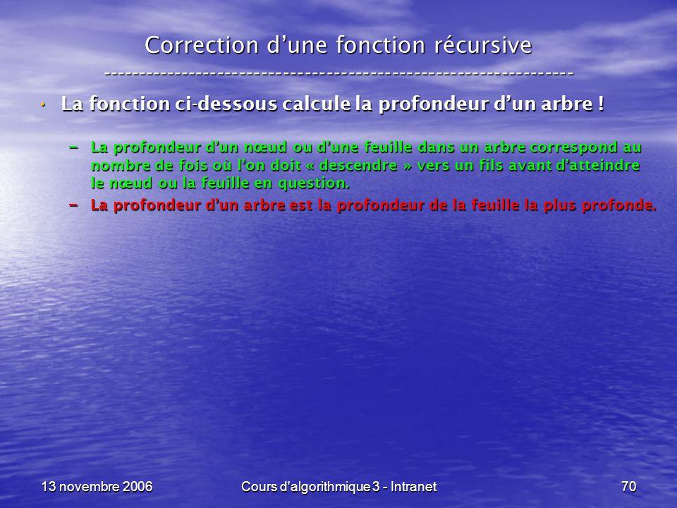 13 novembre 2006Cours d'algorithmique 3 - Intranet70 Correction dune fonction récursive --------------------------------------------------------------