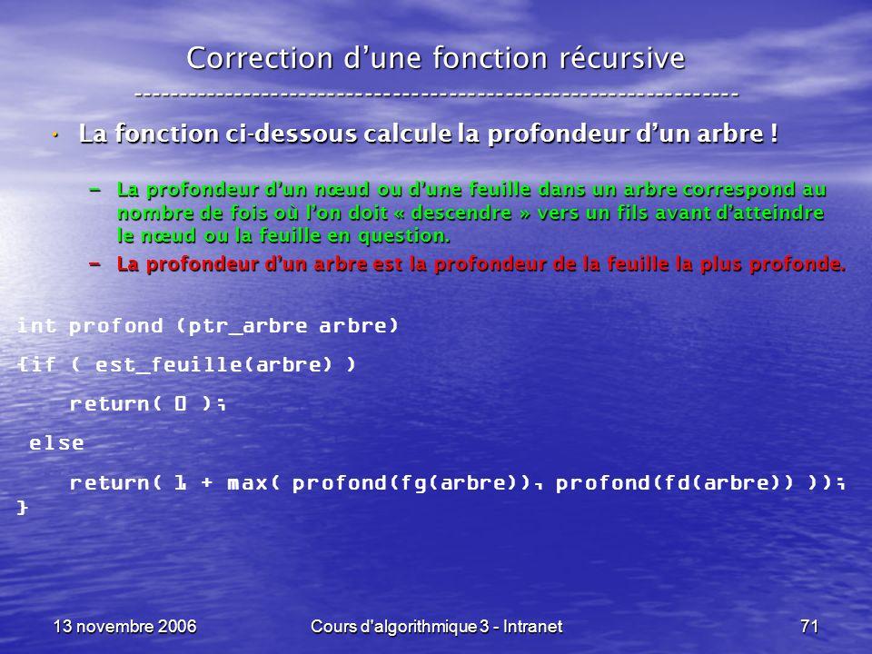 13 novembre 2006Cours d'algorithmique 3 - Intranet71 Correction dune fonction récursive --------------------------------------------------------------