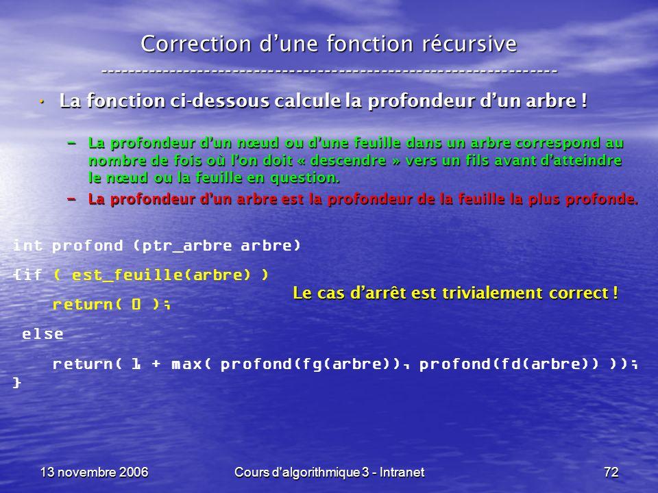 13 novembre 2006Cours d'algorithmique 3 - Intranet72 Correction dune fonction récursive --------------------------------------------------------------