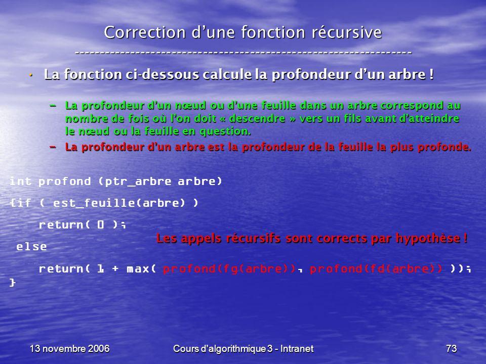 13 novembre 2006Cours d'algorithmique 3 - Intranet73 Correction dune fonction récursive --------------------------------------------------------------