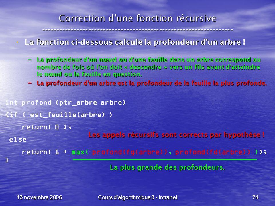 13 novembre 2006Cours d'algorithmique 3 - Intranet74 Correction dune fonction récursive --------------------------------------------------------------