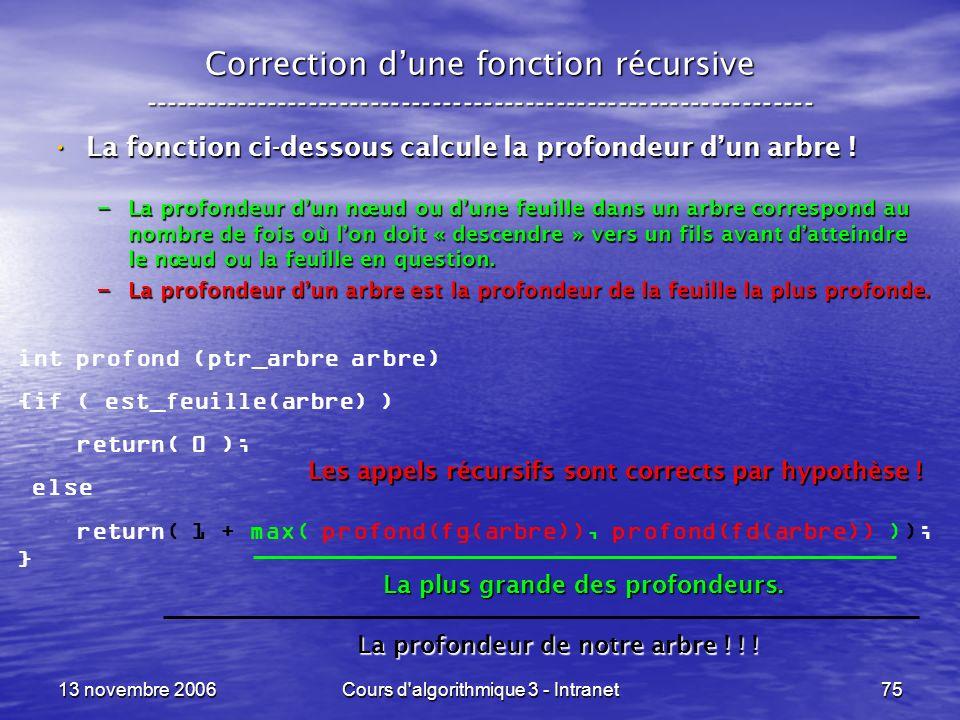 13 novembre 2006Cours d'algorithmique 3 - Intranet75 Correction dune fonction récursive --------------------------------------------------------------