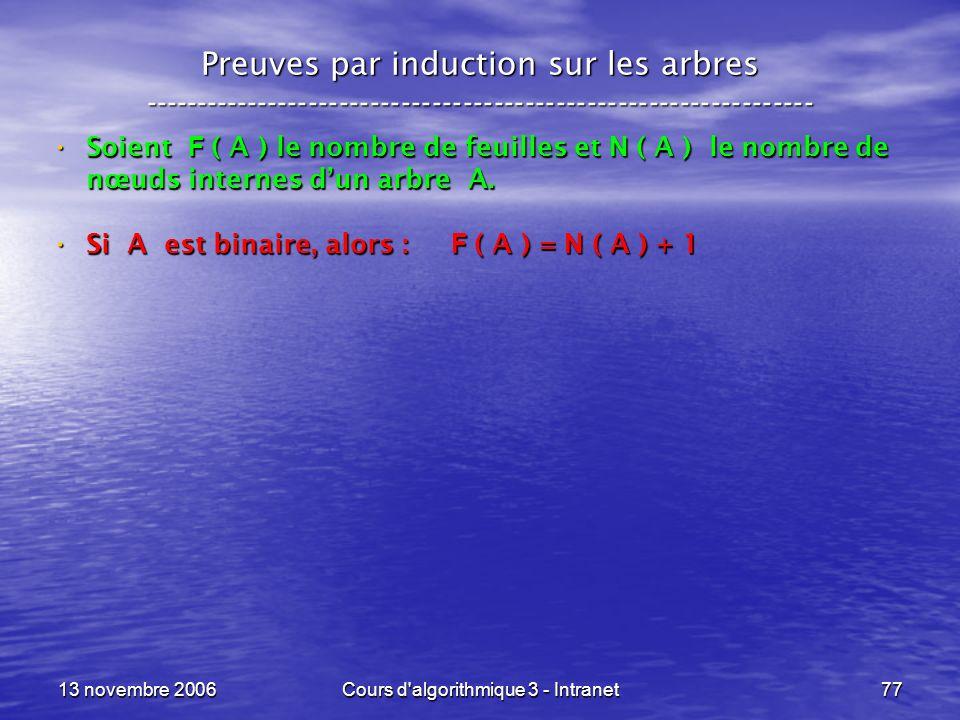 13 novembre 2006Cours d'algorithmique 3 - Intranet77 Preuves par induction sur les arbres ------------------------------------------------------------