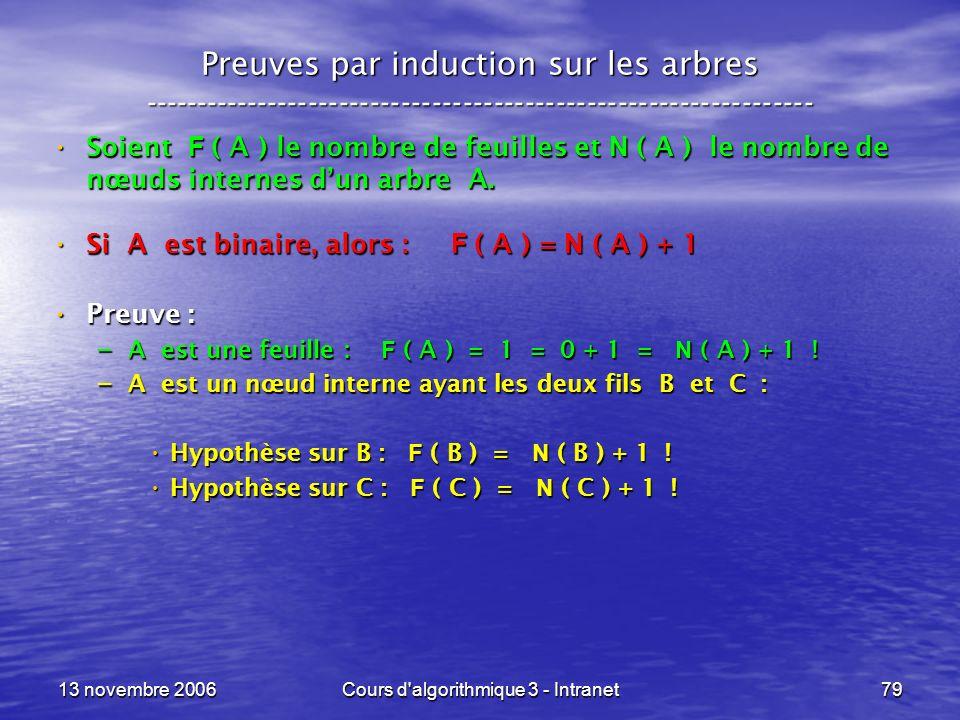 13 novembre 2006Cours d'algorithmique 3 - Intranet79 Preuves par induction sur les arbres ------------------------------------------------------------