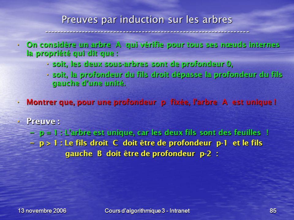 13 novembre 2006Cours d'algorithmique 3 - Intranet85 Preuves par induction sur les arbres ------------------------------------------------------------