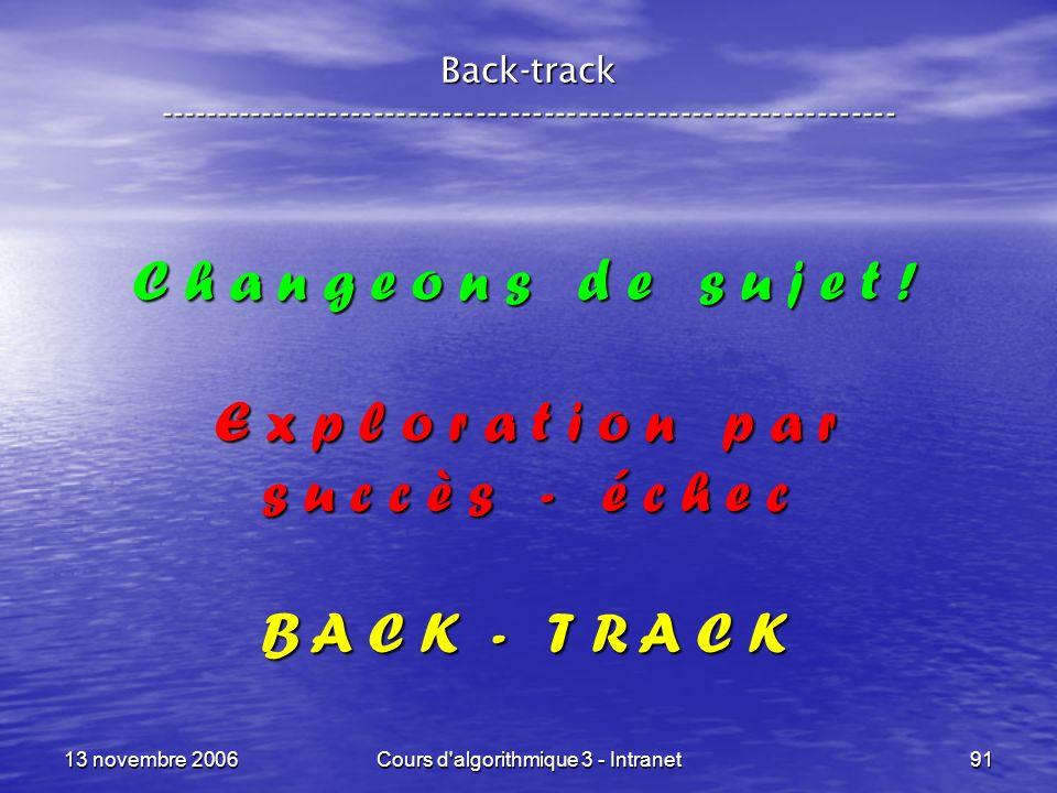 13 novembre 2006Cours d'algorithmique 3 - Intranet91 Back-track ----------------------------------------------------------------- C h a n g e o n s d