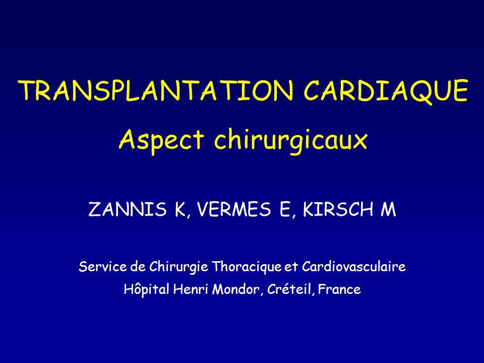 TRANSPLANTATION CARDIAQUE Aspect chirurgicaux ZANNIS K, VERMES E, KIRSCH M Service de Chirurgie Thoracique et Cardiovasculaire Hôpital Henri Mondor, C