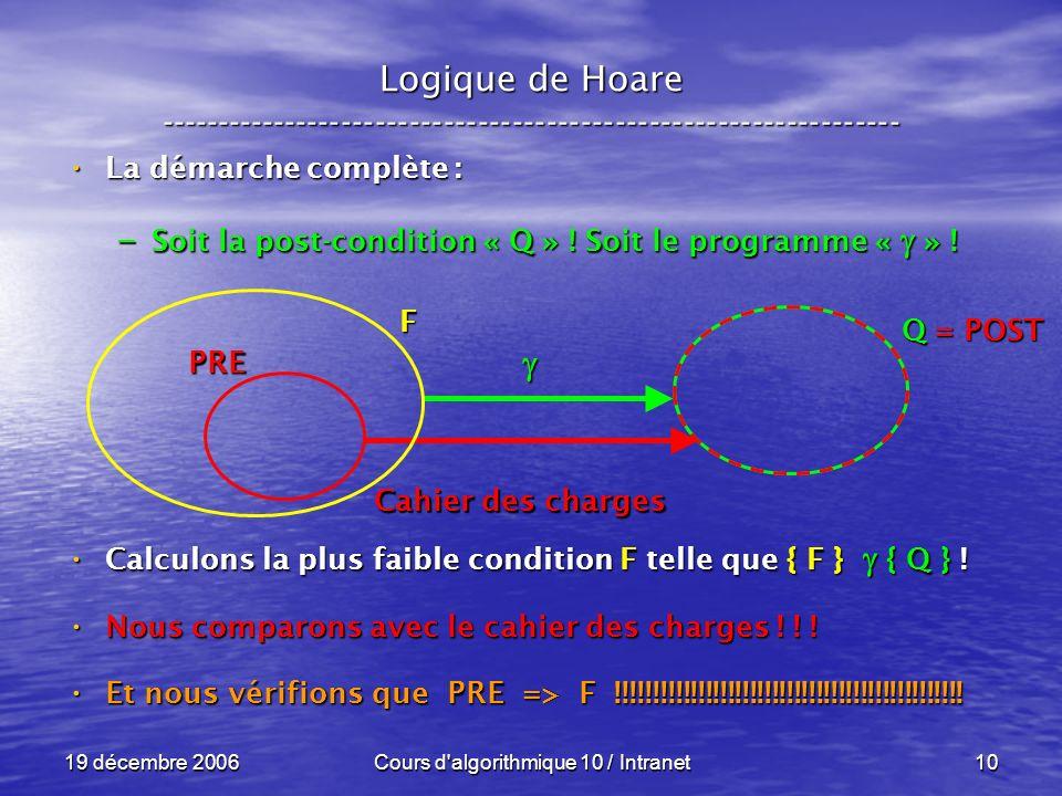 19 décembre 2006Cours d algorithmique 10 / Intranet10 Logique de Hoare ----------------------------------------------------------------- La démarche complète : La démarche complète : – Soit la post-condition « Q » .
