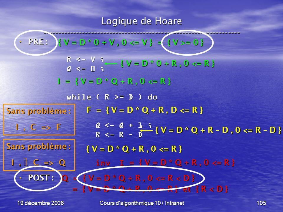 19 décembre 2006Cours d algorithmique 10 / Intranet105 Logique de Hoare ----------------------------------------------------------------- POST : POST : R <- V ; Q <- 0 ; while ( R >= D ) do Q <- Q + 1 ; Q <- Q + 1 ; R <- R – D R <- R – D inv I inv I Q = { V = D * Q + R, 0 <= R < D } = { V = D * Q + R, 0 <= R } et { R < D } = { V = D * Q + R, 0 <= R } et { R < D } = { V = D * Q + R, 0 <= R } Sans problème : I, C => Q F = { V = D * Q + R, D <= R } { V = D * Q + R, 0 <= R } { V = D * Q + R – D, 0 <= R – D } I = { V = D * Q + R, 0 <= R } Sans problème : I, C => F { V = D * 0 + R, 0 <= R } { V = D * 0 + V, 0 = 0 } PRE : PRE :