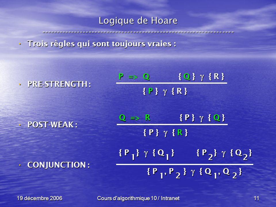 19 décembre 2006Cours d algorithmique 10 / Intranet11 Logique de Hoare ----------------------------------------------------------------- Trois règles qui sont toujours vraies : Trois règles qui sont toujours vraies : PRE-STRENGTH : PRE-STRENGTH : POST-WEAK : POST-WEAK : CONJUNCTION : CONJUNCTION : P => Q { Q } { R } { P } { R } Q => R { P } { Q } { P } { R } { P } { Q } 1 1 { P } { Q } 2 2 { P, P } { Q, Q } 1 1 2 2