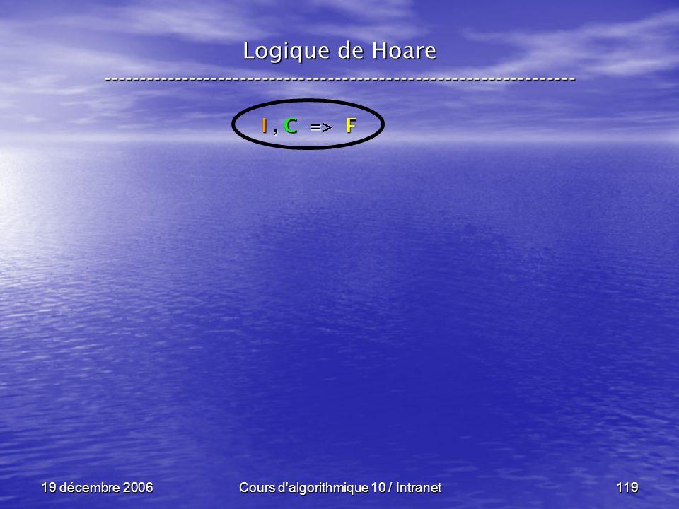19 décembre 2006Cours d algorithmique 10 / Intranet119 Logique de Hoare ----------------------------------------------------------------- I, C => F