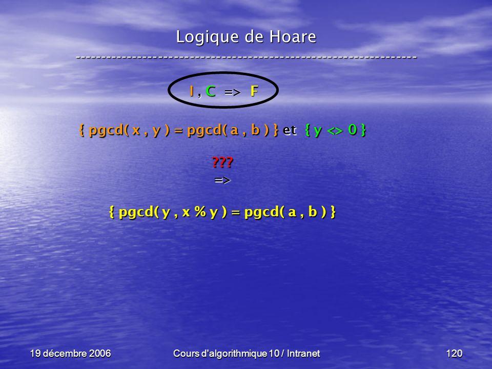 19 décembre 2006Cours d algorithmique 10 / Intranet120 Logique de Hoare ----------------------------------------------------------------- I, C => F { pgcd( x, y ) = pgcd( a, b ) } et { y <> 0 } => { pgcd( y, x % y ) = pgcd( a, b ) }