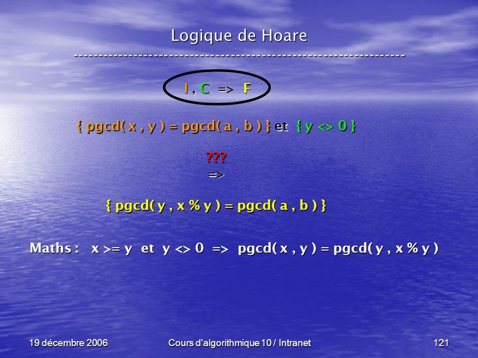 19 décembre 2006Cours d algorithmique 10 / Intranet121 Logique de Hoare ----------------------------------------------------------------- I, C => F { pgcd( x, y ) = pgcd( a, b ) } et { y <> 0 } => { pgcd( y, x % y ) = pgcd( a, b ) } Maths : x >= y et y <> 0 => pgcd( x, y ) = pgcd( y, x % y )