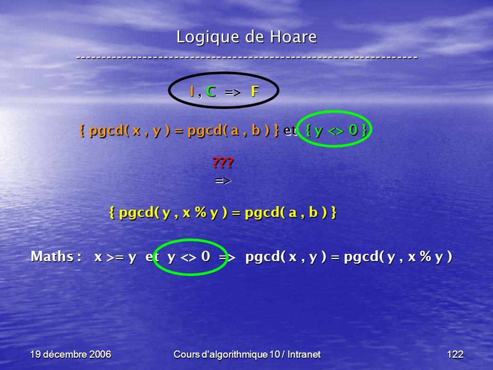 19 décembre 2006Cours d algorithmique 10 / Intranet122 Logique de Hoare ----------------------------------------------------------------- I, C => F { pgcd( x, y ) = pgcd( a, b ) } et { y <> 0 } ???=> { pgcd( y, x % y ) = pgcd( a, b ) } Maths : x >= y et y <> 0 => pgcd( x, y ) = pgcd( y, x % y )