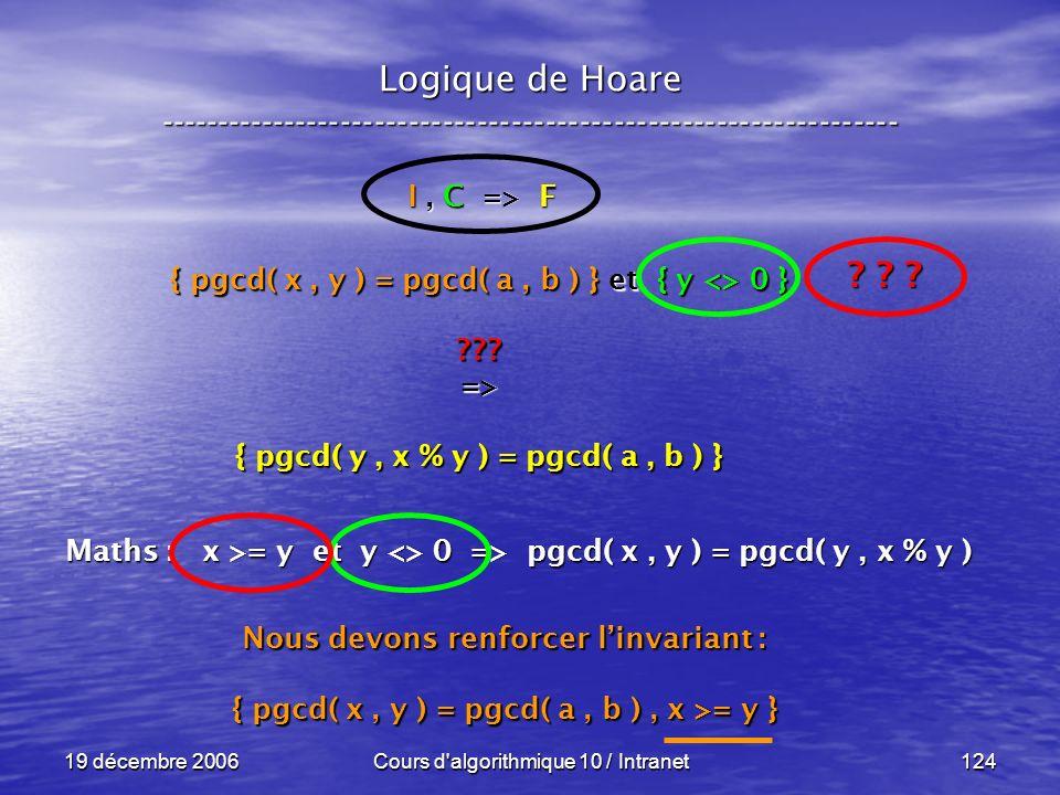 19 décembre 2006Cours d algorithmique 10 / Intranet124 Logique de Hoare ----------------------------------------------------------------- I, C => F { pgcd( x, y ) = pgcd( a, b ) } et { y <> 0 } => { pgcd( y, x % y ) = pgcd( a, b ) } .