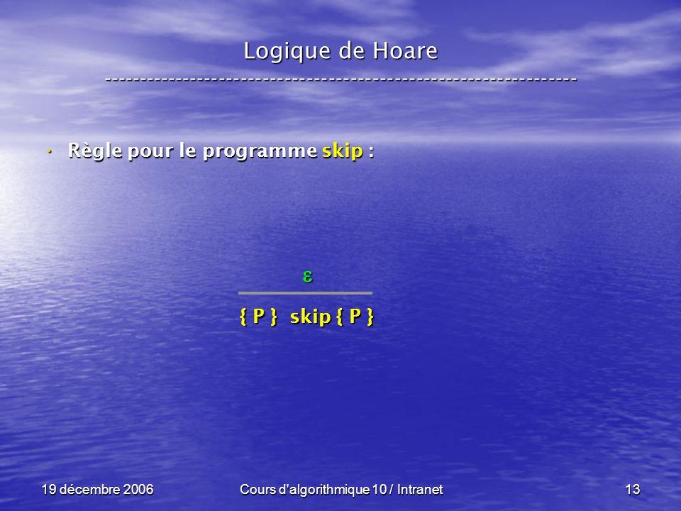 19 décembre 2006Cours d algorithmique 10 / Intranet13 Logique de Hoare ----------------------------------------------------------------- Règle pour le programme skip : Règle pour le programme skip : { P } skip { P }