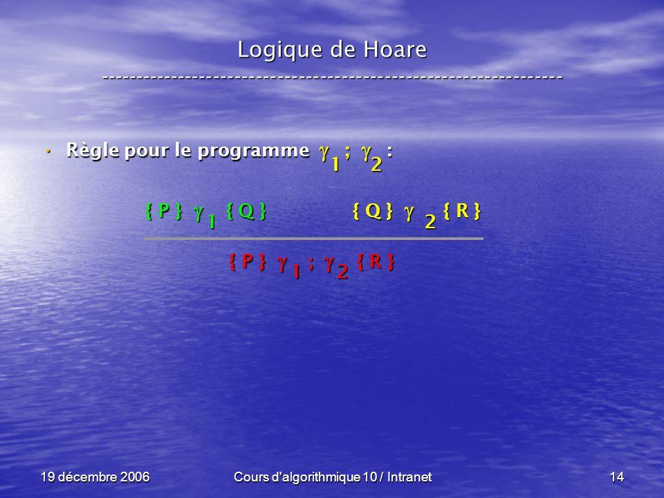 19 décembre 2006Cours d algorithmique 10 / Intranet14 Logique de Hoare ----------------------------------------------------------------- Règle pour le programme ; : Règle pour le programme ; : { P } { Q } { Q } { R } 12 { P } ; { R } 12 1 2